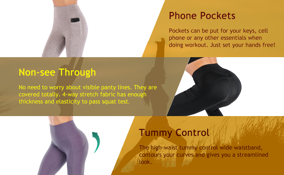 Running Fitness VICHFA Womens High Waisted Workout Leggings with Pockets for Yoga