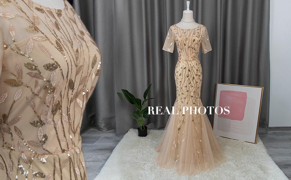 fall short sleeve evening dress formal wedding guest gown prom dress cocktail dress dance dress long