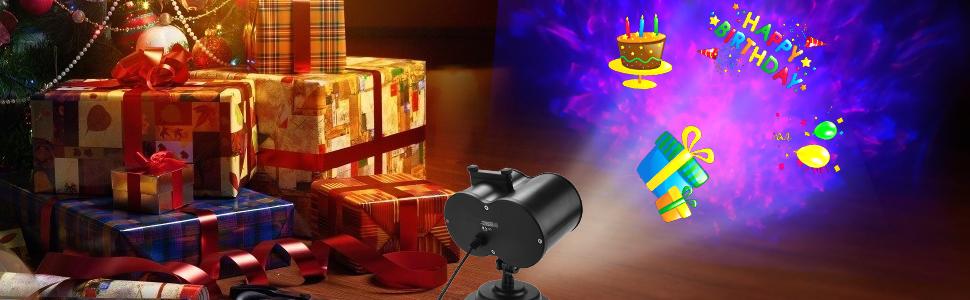 ROVLAK LED Proyector Luces IP65 Impermeable Proyector Luz con Control Remoto 3D Rotaci/ón Olas de Agua L/ámpara de Proyecci/ón Al Aire Libre Luz de Jard/ín Proyector para Navidad Fiesta Halloween