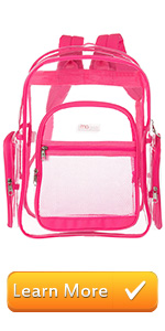 pink clear backpack see-thru bag school bags book bag student travel carry on stadium bag outdoor