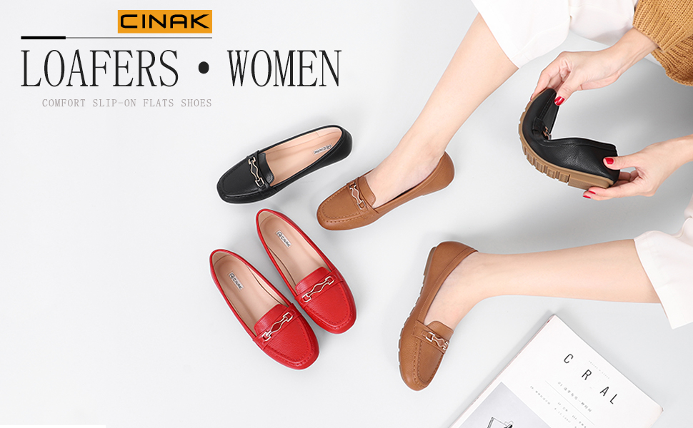 2d4f2f27bc921 CINAK Loafers Sneakers for Women| Slip-on Casual Walking Flats Comfort Shoes