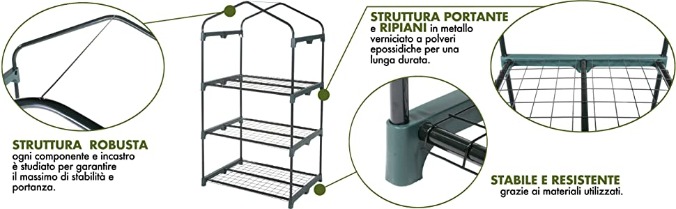 Verdelook, serra, 3 ripiani, struttura, robusta, ripiani, lunga durata, stabilità
