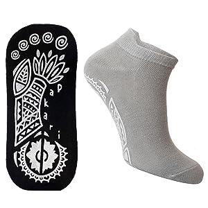 Non slip application pattern on sole of socks.