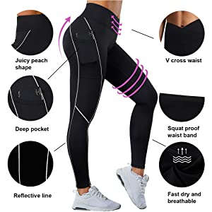 reflective leggings with pockets