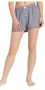 women soft comfy cool short shorts pajamas bottoms plaid boxer short
