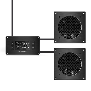 AC Infinity AIRPLATE T3 Quiet Cooling Dual-Fan System Thermostat Control Home Theater AV Cabinet