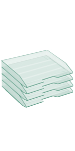 Acrimet Stackable Letter Tray Side Load Clear Green