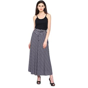Women White & Black Elegant Skirt