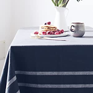 gray french stripe tablecloth