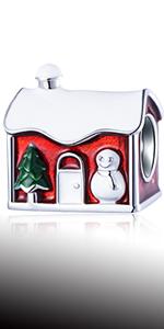 Cozy Christmas Santa House Charms with Mixed Enamel fits Pandora Xmas Bracelet