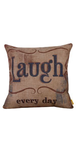 "LINKWELL 18""x18"" Vintage Laugh Every Day Pillow Cover"
