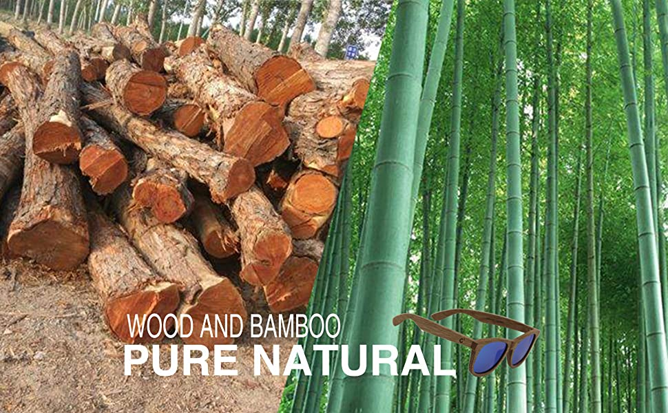 Made of nature wood and bamboo