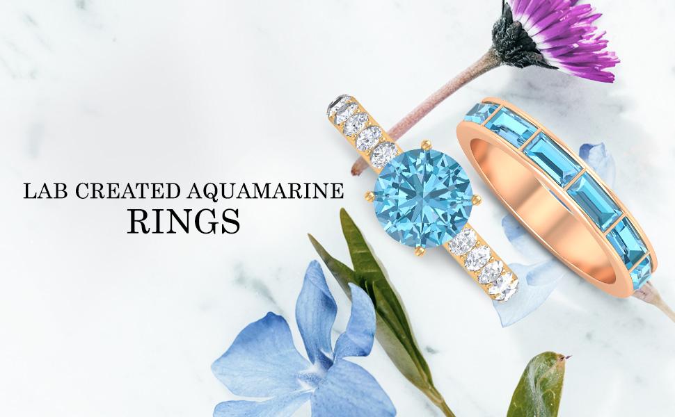 banner Lab Created Aquamarine Rings