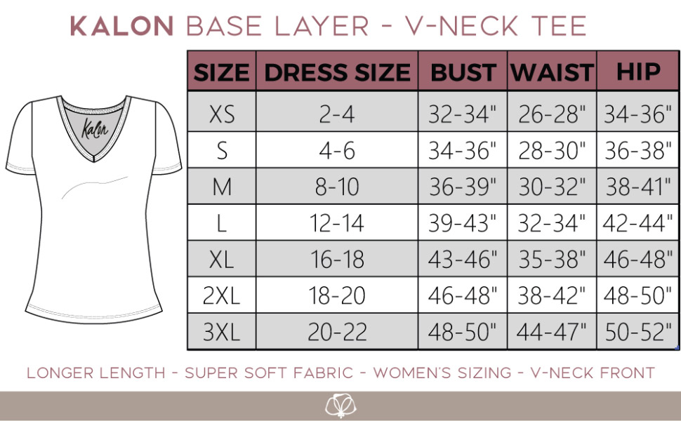 kalon size chart size shirt top v waist bust hips womens guide sizing measure ladies long tall