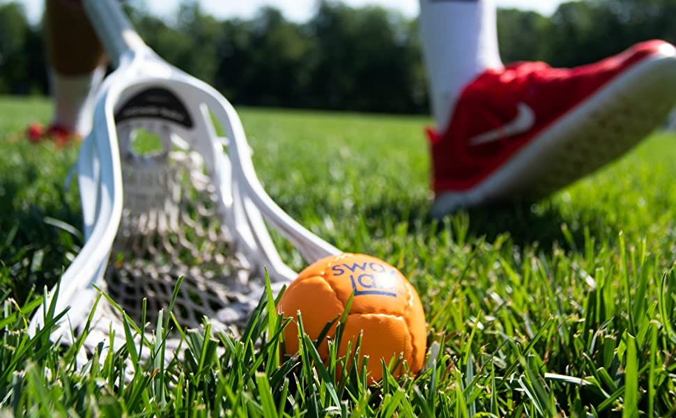 Orange Swax Lax lacrosse training ball