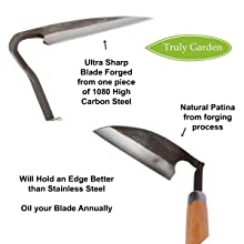sharp blade carbon steel patina forged holds edge garden friend gift truly