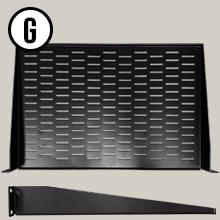 "AxcessAbles RKSHLFVT1UM Universal Vented 1U Rack Tray, 12"" Deep for 19"" Rack Cabinet"