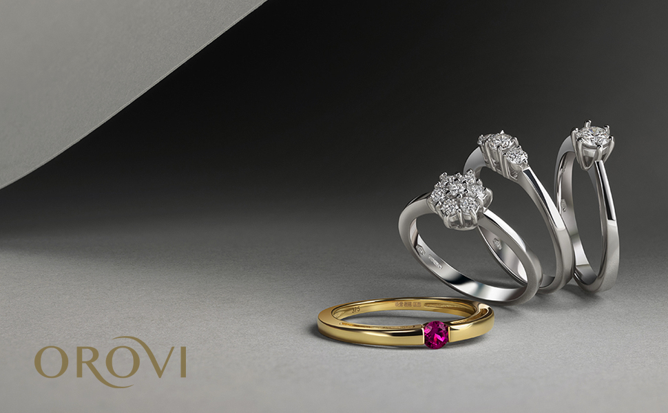 diamond solitar ring ruby emerald sapphires ring rose gold ring hand made in italy juwellery