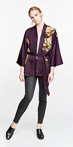 KIM+ONO Women's Charmeuse Kimono Jacket Peony & Butterfly Plum