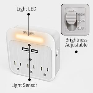 usb nightlight outlet