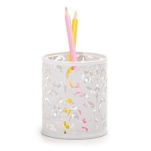 lindo blanco titular de la pluma organizador de la olla de escritorio floral damasco conjunto de hogar suministros de oficina niña mujer