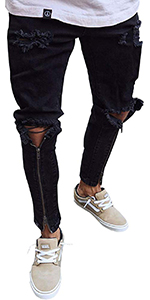 men black ripped jeans skinny fashion stretch joggers slim biker destroyed hole cool zipper