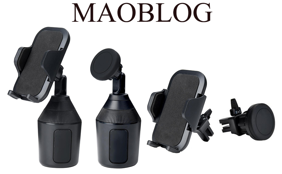 MAOBLOG Cup Holder Car Phone 2 Pack Mount,2 in 1 Clip and Magnet Free Combination Cradle with Dashboard Windshield Air Vent Bracket Stand for Samsung Galaxy S8 S8 S7 S6 and All Phone. Black