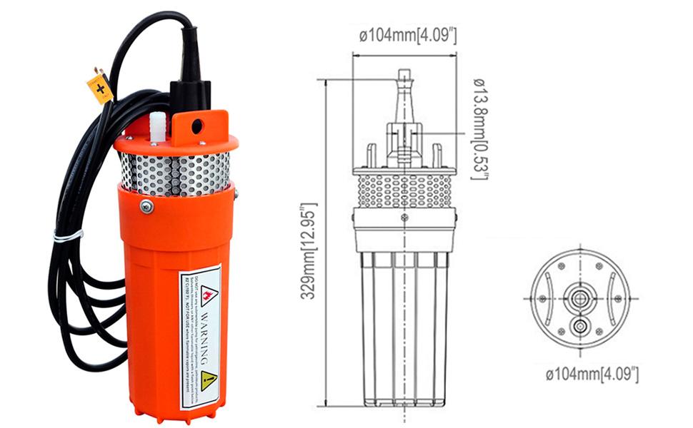 Bomba de agua, de ECO-WORTHY, eléctrica y sumergible, de 24 V CC, funciona con energía solar