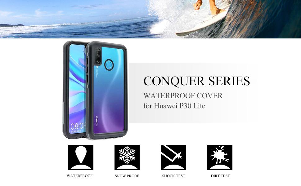 Coque Huawei P30 Lite étanche IP68 pour Huawei P30 Lite sous-marin entièrement scellé P30 Lite étanche avec béquille anti-neige antichoc ...