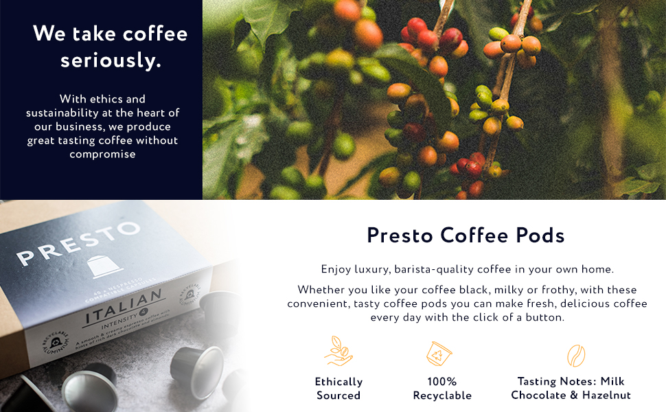 sustainable, coffee, environment, presto, ethical, nespresso, coffee pods, recyclable pods coffee