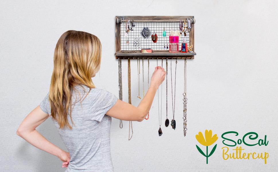 Jewelry organizer rustic hanging