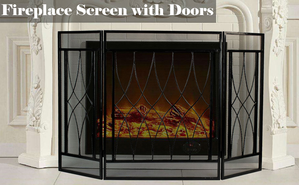 3 Panel Fireplace Screen Fire Place Doors, Wrought Iron Classic Fire Place Gate Screens, Rustic Worn