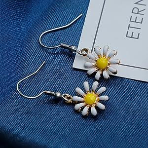 daisy studs yellow daisy earrings smile earings hypoallergenic earrings dangle flower earrings daisy