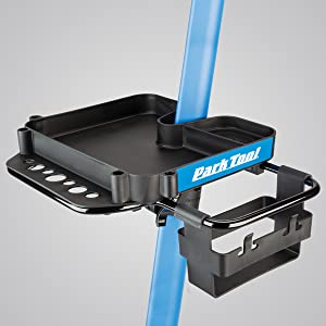 Park Tool 106 Tool Tray installed on PCS-9.2 Bicycle Repair Stand with 2848A Accessory Collar