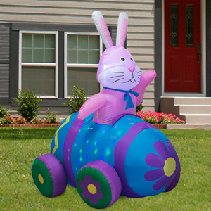 6 FT Happy Easter Bunny Driving Car Inflatable B08NT63W49