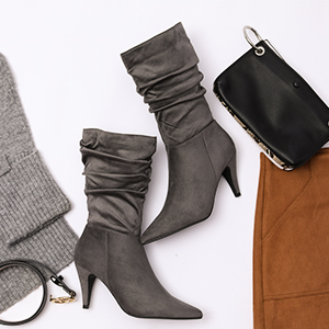womens mid calf pointed toe winter high stiletto heel ladies slouchy zipper casual boots
