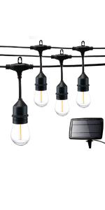 48FT outdoor LED solar string lights