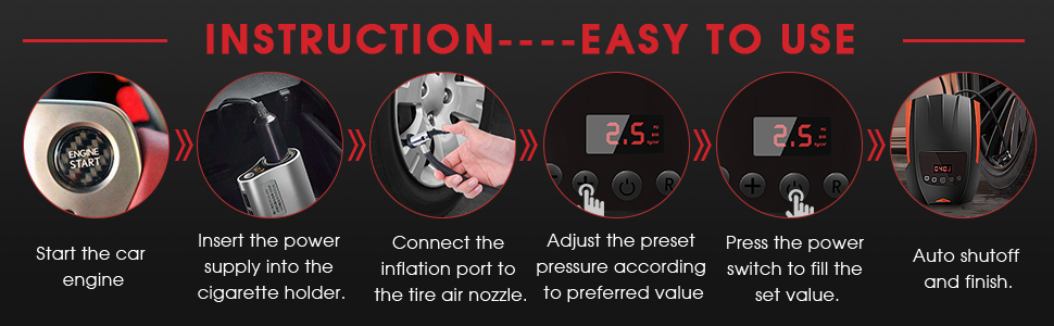4ad92bae 3ea6 477a a115 08e31bde170b. CR0,0,970,300 PT0 SX970 V1 - Portable Tire Inflator Air Compressor for Car, 12V DC Auto Car Tire Pump with 100LM Emergency LED Lights and Long Cable, Digital Air Pump for Car, Motorcycle, Bicycles