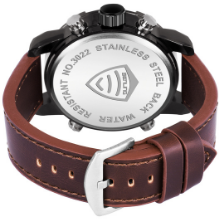 Strap Color: Tan, Strap Material: Faux Leather, Strap Width: 24 mm.