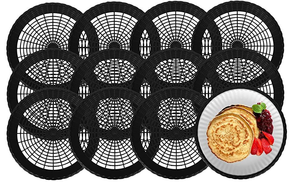 """Stock Your Home 9"""" Paper Plate Holder in Black (12 Count) - Paper Plate Holders Plastic Heavy Duty"""