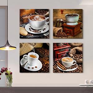 Poster Wall Art 4PC Coffee Art Canvas Print Home Living Room Decor No Frame