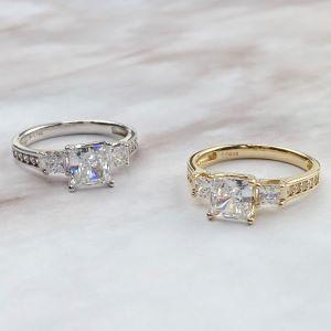 ioka 14k gold engagement ring three stone ring tri stone 3 stone engagement wedding ring white gold