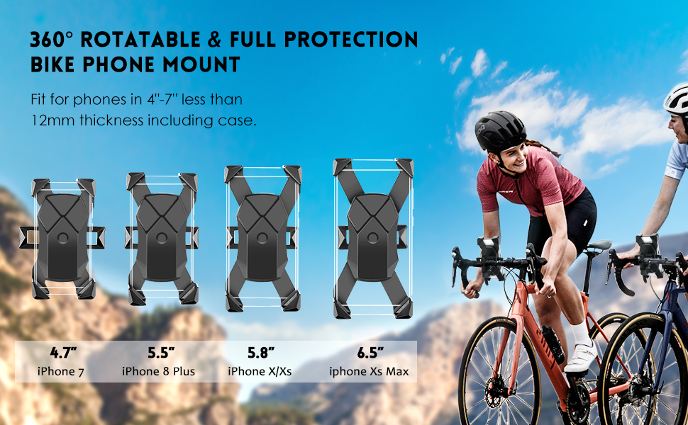 Aonkey bike phone mount, 360 degrees rotatable and full protection bike phone mount