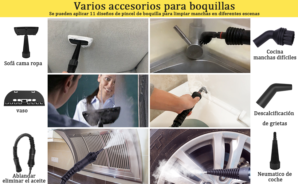 MLMLANT Vaporeta limpiador al vapor compacto de mano, 11 accesorios, 1050W, 350ML Adecuado para el hogar y la Oficina (A): Amazon.es: Hogar