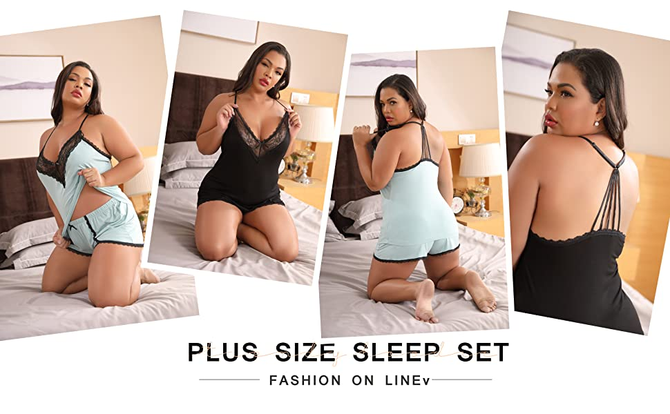 XAKALAKA Women Plus Size Pajamas Cami Shorts Set Nightwear Sexy Lace Lingerie Sleepwear