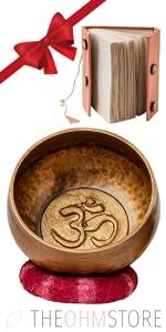 Tibetan Meditation Yoga Singing Bowl And Handmade Journal And Handmade Lotka Gift Box