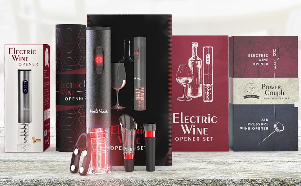 Wine lover gift idea, electric wine opener set, wine gift set, gift for wine lovers, wine gift idea