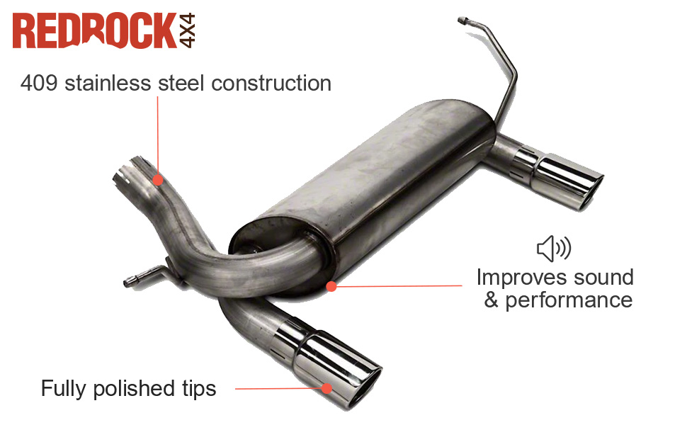 redrock 4x4 dual outlet axle back exhaust with black tips for jeep wrangler jk 2007 2018
