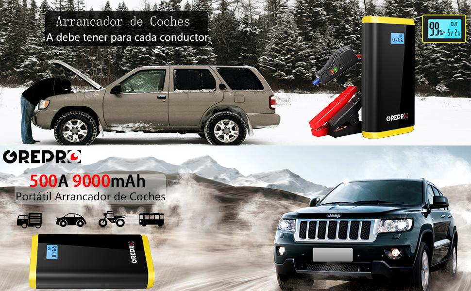 GREPRO Arrancador de Coche - 500A Arrancador Coche (hasta 4.5L Gas o 2.5L Diesel) Batería Arrancador de Coche, 3 Modos Linterna LED & Puerto USB