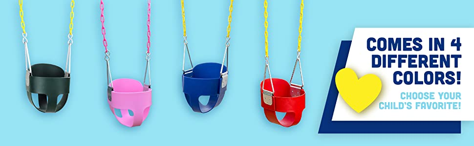 Comes in 4 different Colors. High Back Full Bucket Toddler Swing Seat